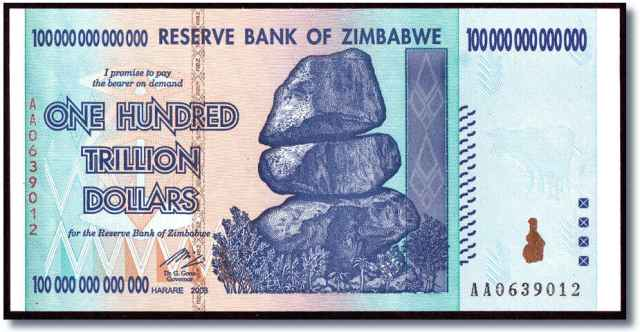 The infamous 100-Trillion banknote.