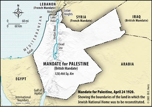 British Mandate for Palestine, 1920 (Google Images)