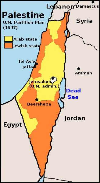 UN Partition Plan for Palestine, 1947 (Google Images)