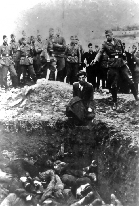 Photograph found in a German's photograph album with the words'The last jew in Vinnitsa' written on the back. (WW2Today)