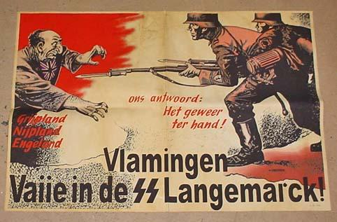 "Anti-Semitic poster encouraging Flemish people (Vlamingen) to take arms against the British and the Jews: ""Our answer: the rifle in the hand!"""