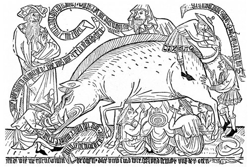"""Medieval anti-Semitic iconography: Jews feeding from the milk and feces of the """"Judensau"""" (Jewish swine).  These images were prevalent throughout Germany often engraved on buildings facing the entrance of the Jewish Ghettos."""