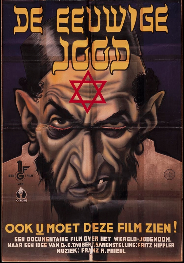 "Flemish anti-Semitic movie poster: ""You too should see this film"", ""A documentary on the ""world Jewry"" (Google Images)"