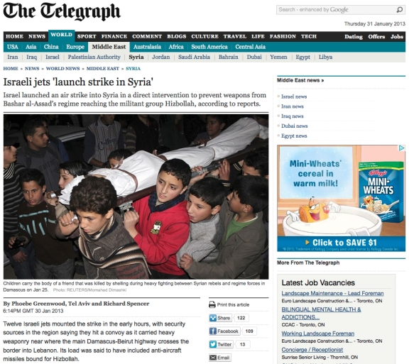 Article on Israeli airstrike in Syria. The Telegraph, January 31, 2013.