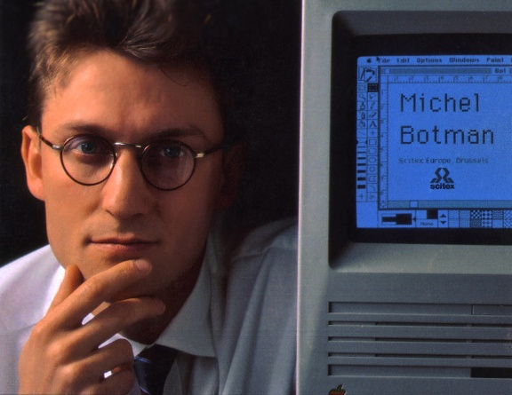 Michel Botman, Scitex Europe, Brussel, 1990 (With Mac Classic SE).